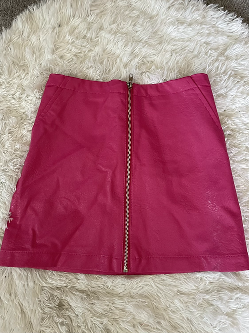 Pink Leather Zip Up Skirt