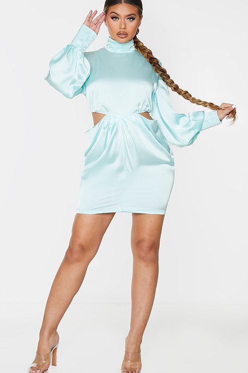 Pale Aqua Satin High Neck Long Sleeve Bodycon Dress