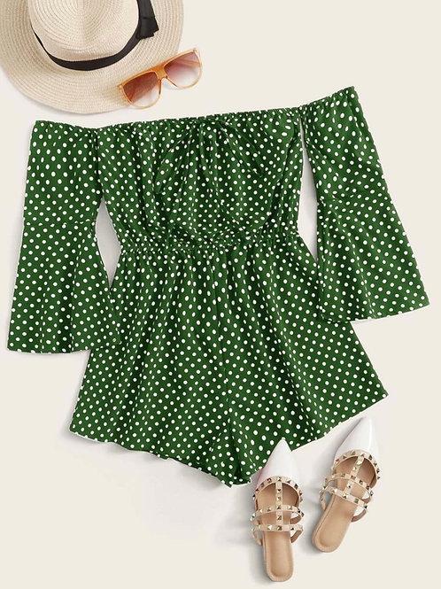 Green Polka Romper