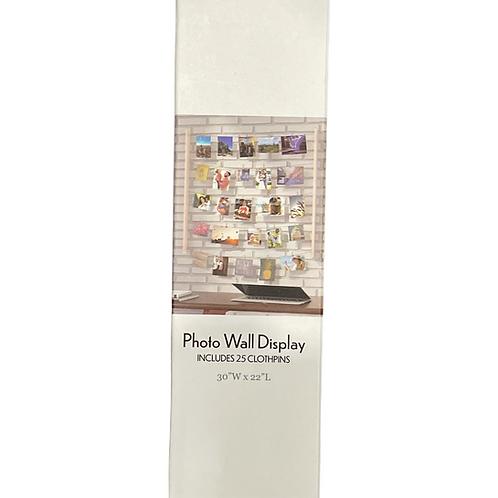 Photo Wall Display w. 25 Clothpins