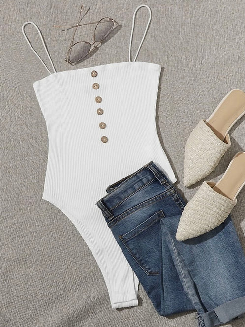 White Buttoned Front Bodysuit