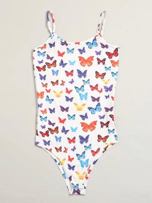White Butterfly Print Bodysuit