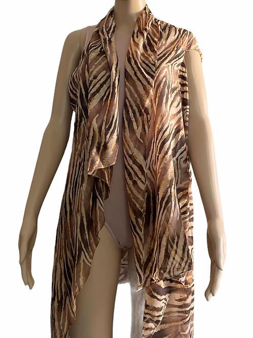 Brown Striped Kimono Cover Up