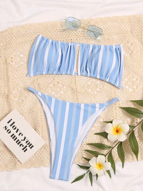 Light Blue Striped Bikini