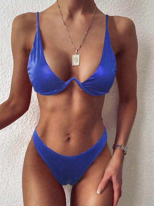 Metallic Blue Bikini Set