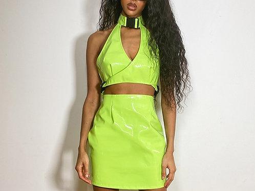 Lime Vinyl Bodycon Dress