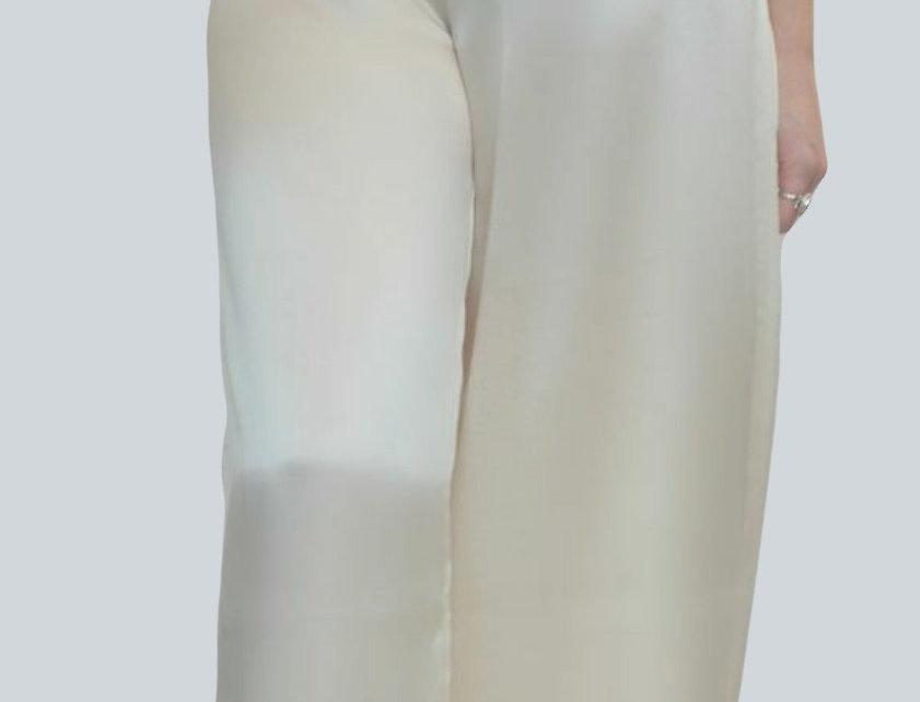 Wide legged silk trousers