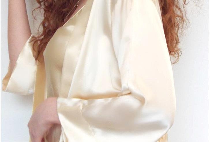 Short Silk Satin Kimojo Jacket & Shorts