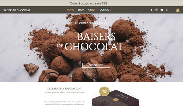 Loja Virtual website templates – Boutique de chocolate