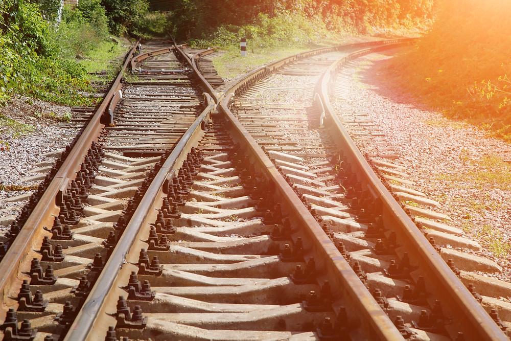 Train tracks crossroads
