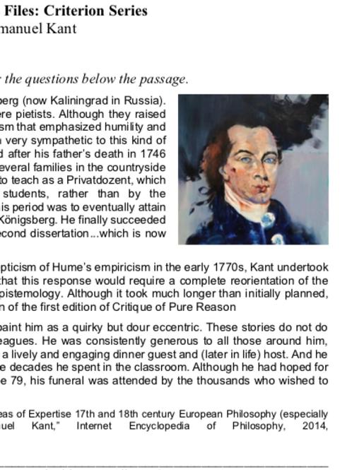 Kant - Criterion Philosophy Worksheets