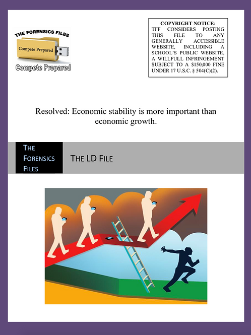 STOA 2020–21 LD Value Topic File - Economic Stability vs. Growth