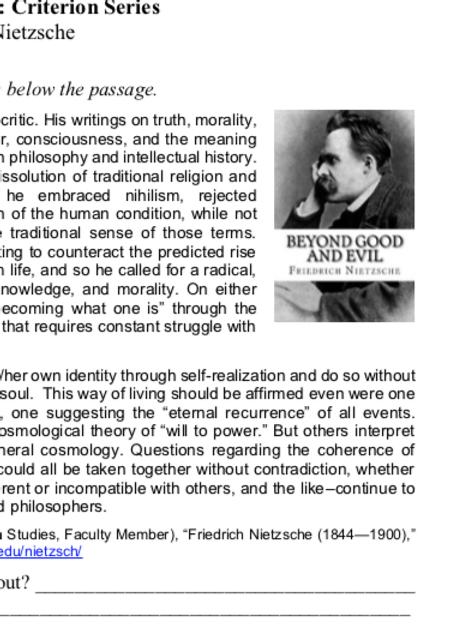 Nietzsche - Criterion Philosophy Worksheets