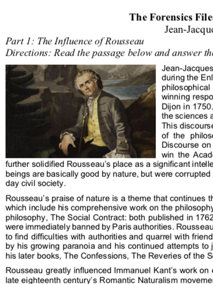 Rousseau - Criterion Philosophy Worksheets