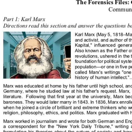 Communism - Criterion Philosophy Worksheets