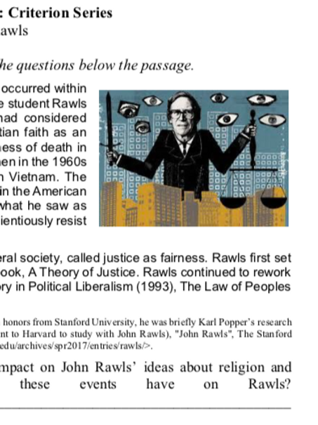 Rawls - Criterion Philosophy Worksheets