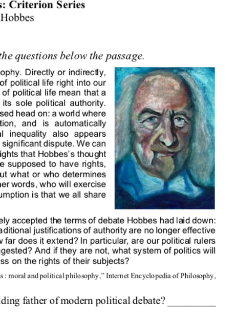 Hobbes - Criterion Philosophy Worksheets