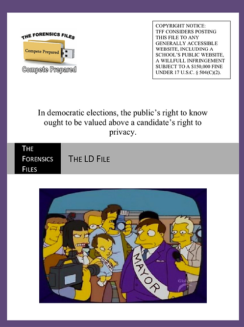 NCFCA 2021 LD Topic File - Public's Right to Know