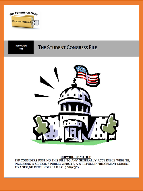 Congressional Debate File (1st - 50 Topics)