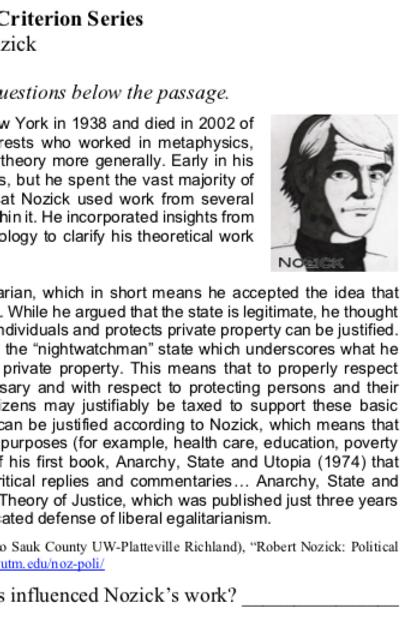 Nozick - Criterion Philosophy Worksheets