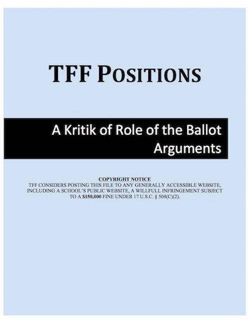 Role of the Ballot Kritik (LD)