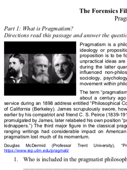 Pragmatism - Criterion Philosophy Worksheets
