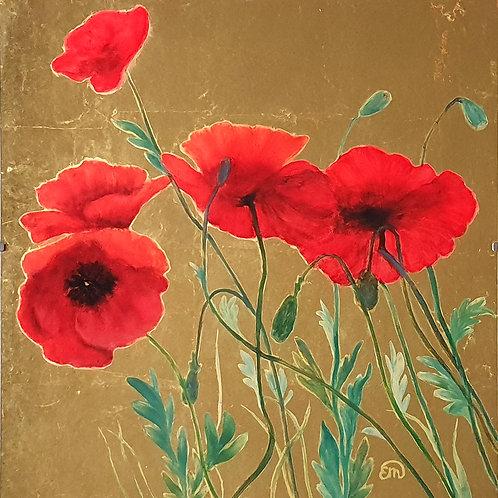 Poppy flowers, original artwork