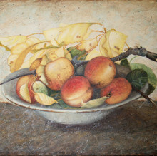 Peaches and plums in a bowl