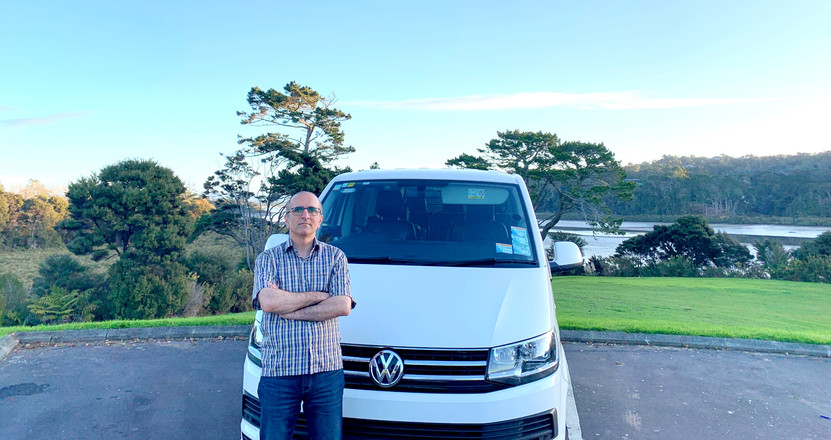 Mike and the Tour vehicle