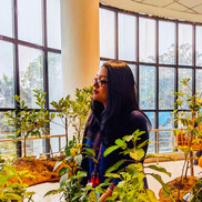 Ashna Afroze Ahmed at Dhaka Art summit at Otobong's Landversation table of plants and flowers