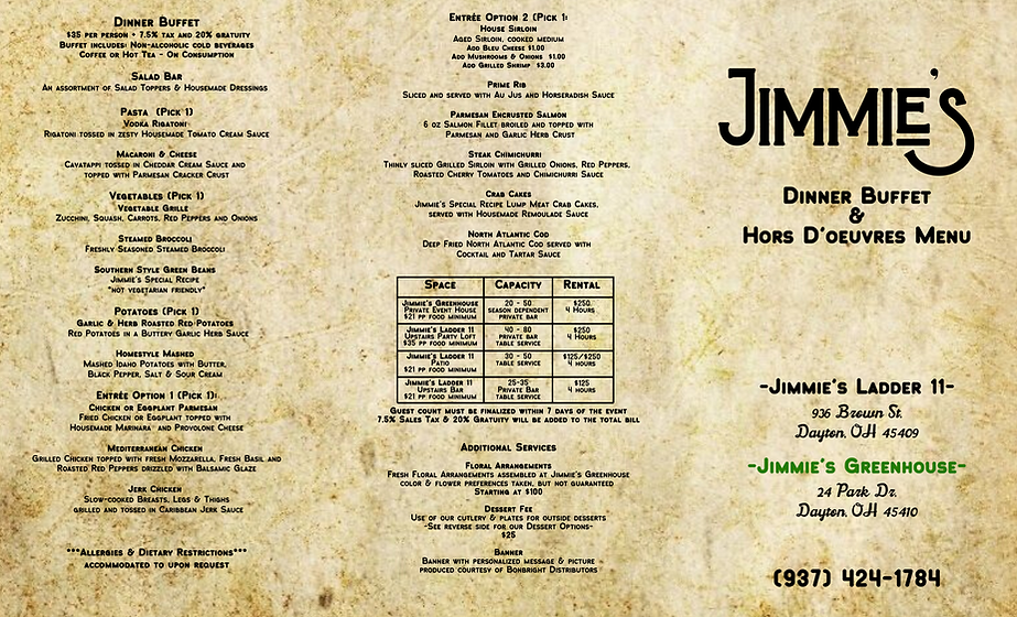 Jimmie's Party Brochure