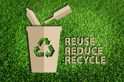 Paper cut of Reuse, Reduce, Recycle con