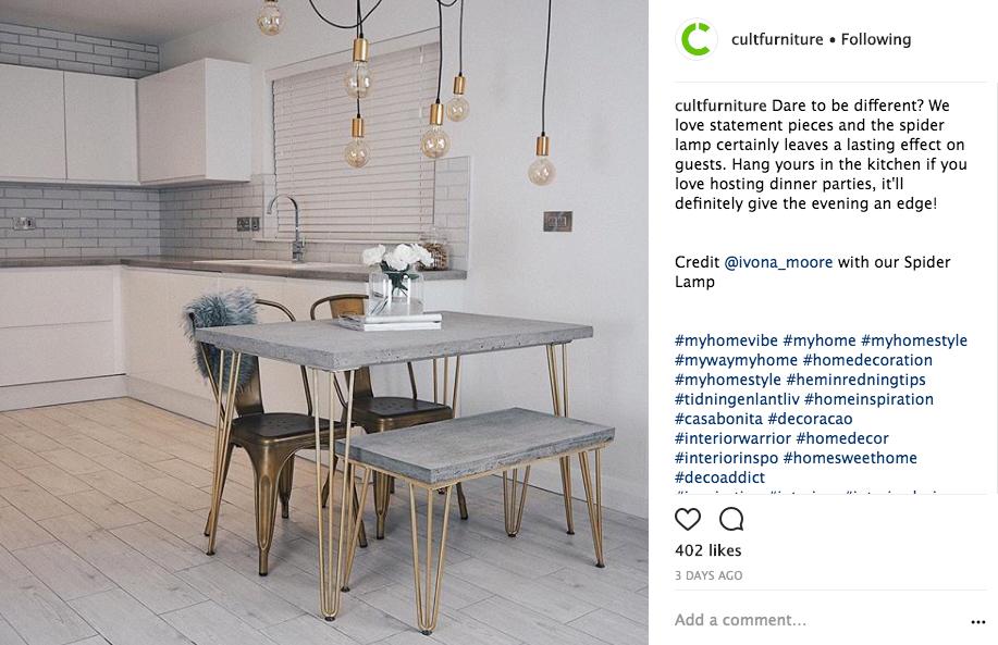 Cult Furniture Instagram post