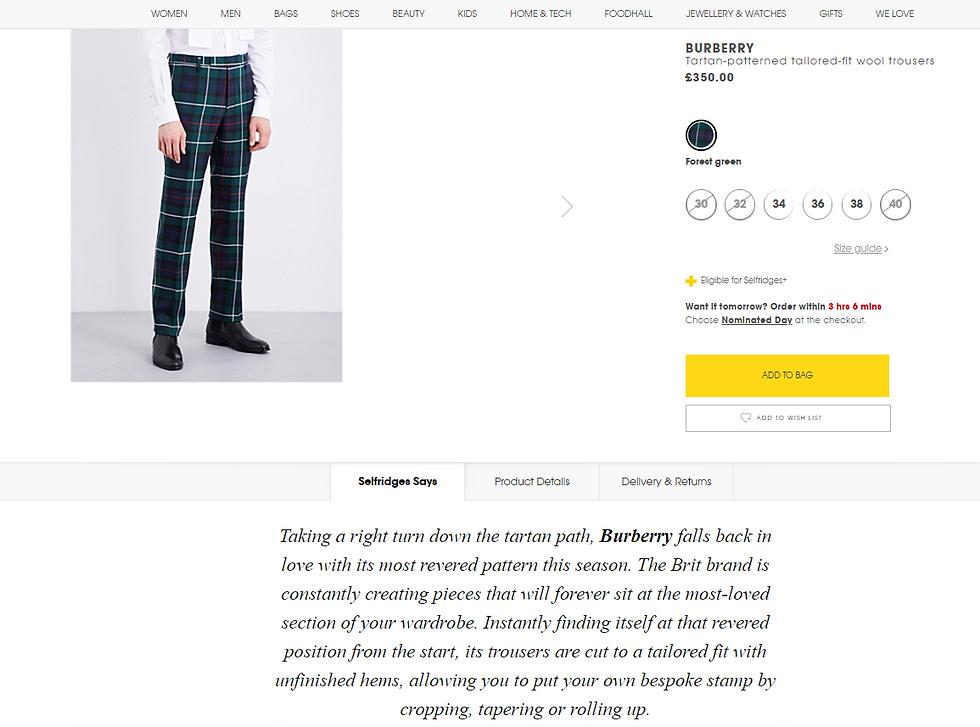 Burberry Mens tartan trousers Selfridges
