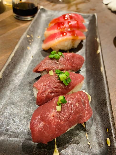 Horse sashimi, duck sashimi