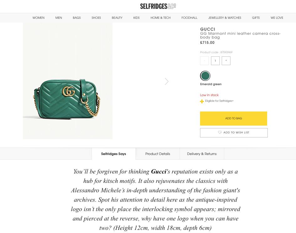 Gucci Marmont cross-body bag Selfridges