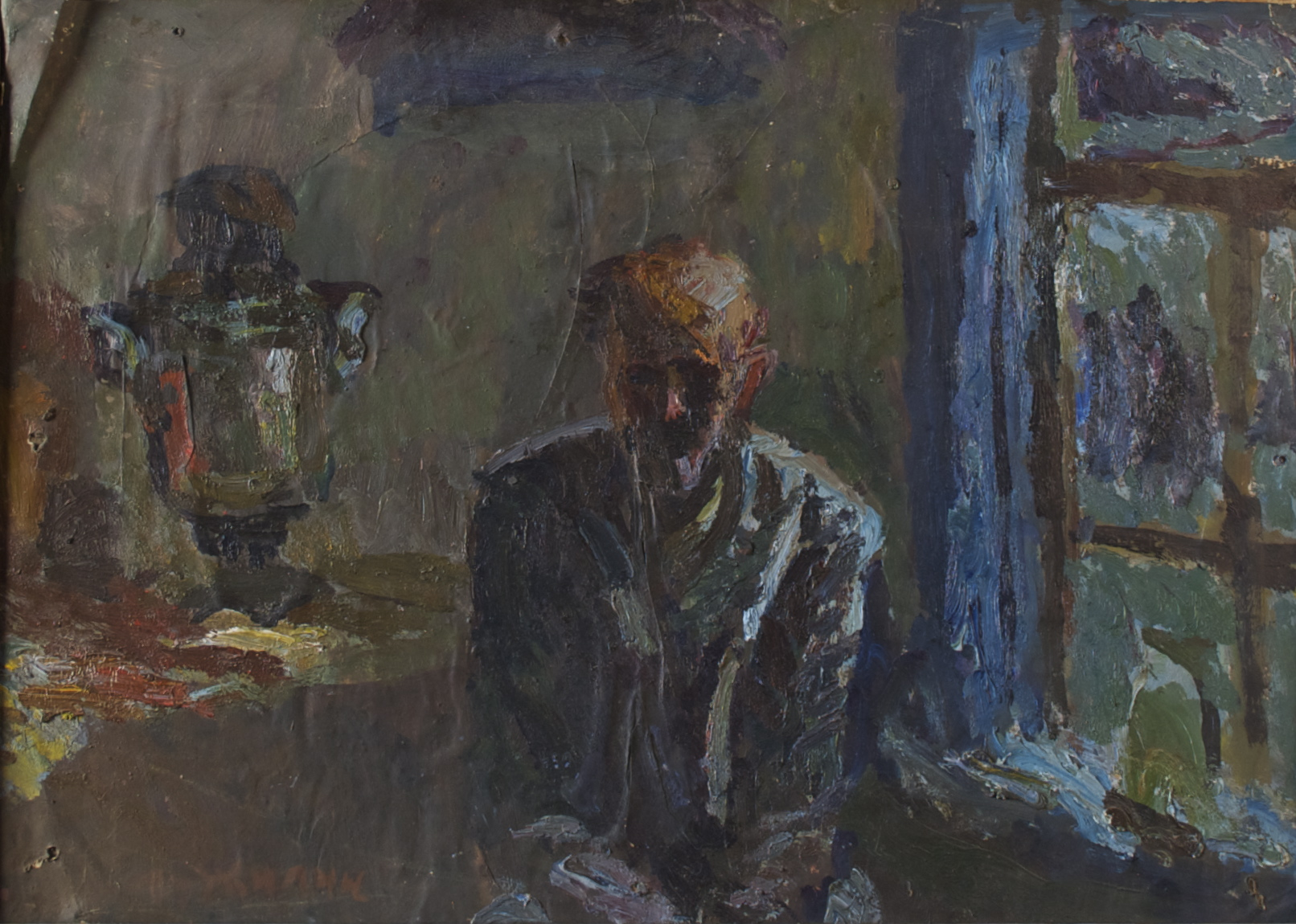 Старик  с самоваром