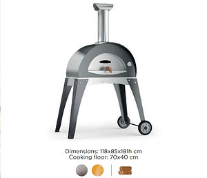 alfa pizza oven ciao in grey on stand