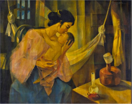 MANANSALA Mother and Child oil on canvas
