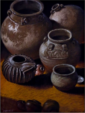 G BALANOS Jars  pastel on paper 18 24