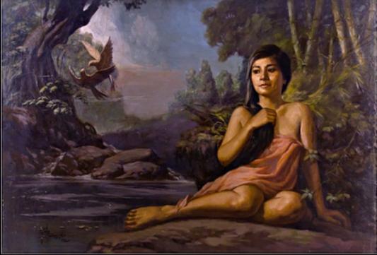 SAULOG Lady with 2 Birds oil on canvas 3