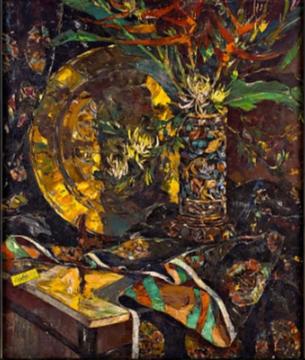GABRIEL CUSTODIO Still Life-Gong Oil on