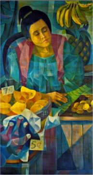 MANANSALA Lady Vendor oil on canvas 24 4