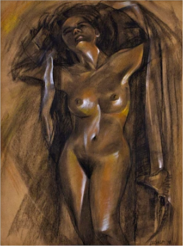 LEGASPI Nude-I charcoal-pastel in pencil