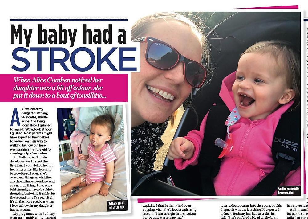 Alice Comben, baby has stroke