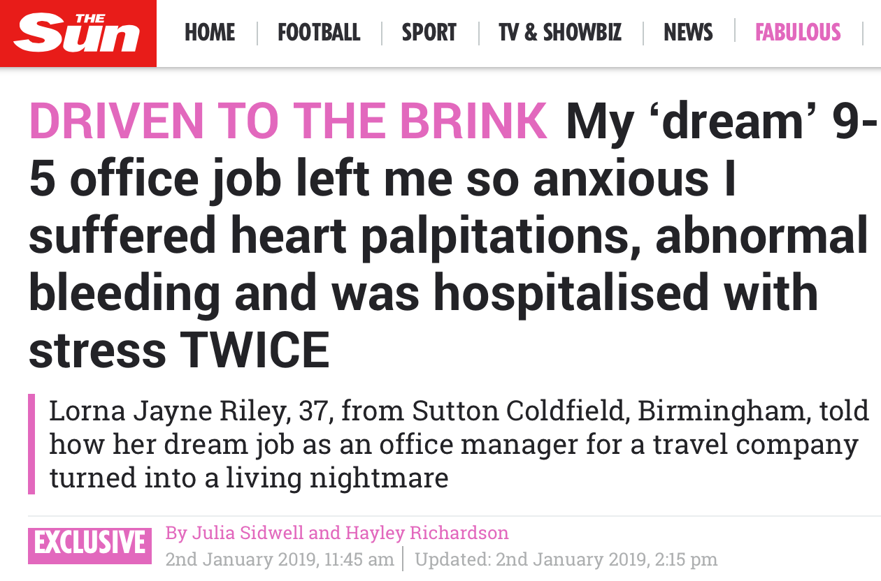 The Sun: Hospitalised By Work Stress