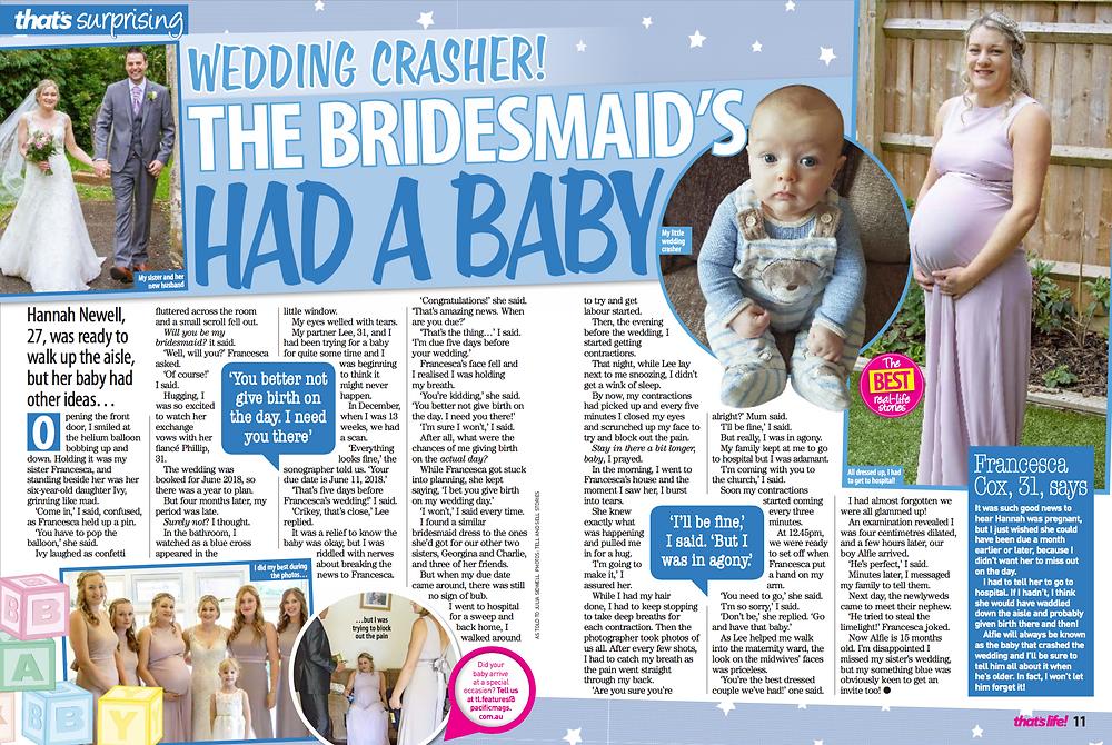 Bridesmaid has baby Hannah Newell