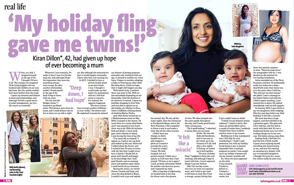 Bella Magazine: Twins after holiday fling