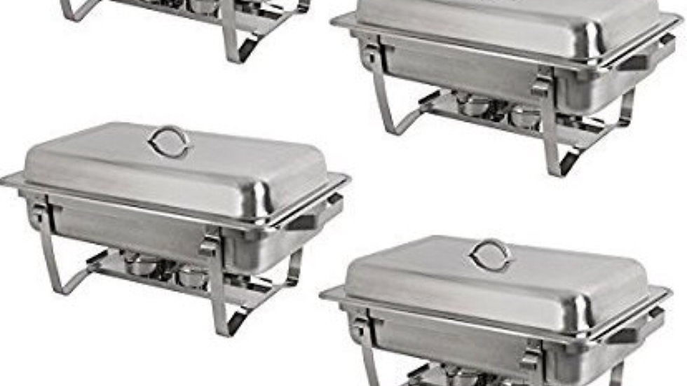 Rectangular Chafing Dish Full Size Chafer Dish Set 4 Pack of 8 Quart Stainless