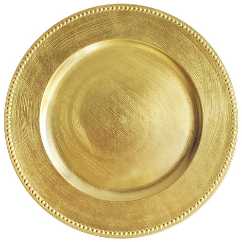 Gold Tone Plastic Charger Plate